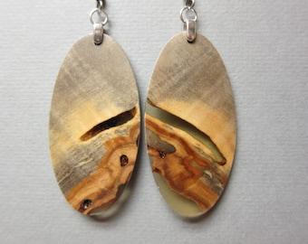 Beautiful Buckeye Burl Exotic Wood Earrings, Handcrafted Resin Hypoallergenic wires