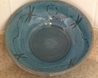Large Flying dragonfly Bowl in Celadon