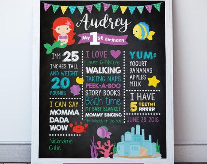 Little Mermaid Birthday, Birthday Stats, 1st Birthday Chalkboard Poster, Little Mermaid Party, First Birthday Sign, Birthday Photo Prop