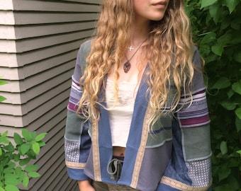 Patchwork  Wrap Jacket,size XS to S/M, kimono jacket, eco clothing,boho wrap,festival jacket,hippy jacket,earthy stripe cropped jacket Zasra