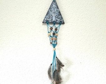 Wooden Triangle design macrame wallhanging with feathers