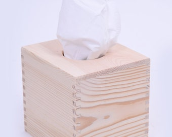 Tissue Box Cover Rectangle Or Cube Shape Plain Untreated Wood
