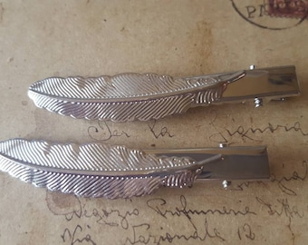 2 Feather hair Clips ~ Silver Colors ~