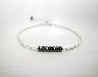 Minimalist chain bracelet sparkly gray beads dainty chain bracelet elegant layering bracelet for women