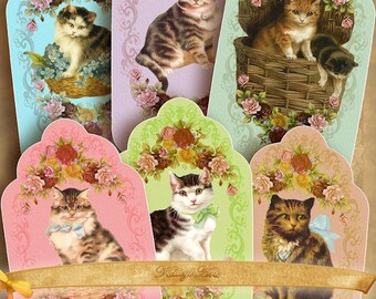 Cats ... digital bookmarks, tags, shabby chic, Digital Collage Sheet Bookmarks, Vintage Images, Gift, Tags, Crafts, Supply