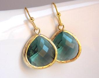Teal Earrings, Gold Teal Earrings, Teal Jewelry, Teal Wedding, Drop, Dangle, Bridesmaid Earrings, Bridesmaid Jewelry, Bridesmaid Gift