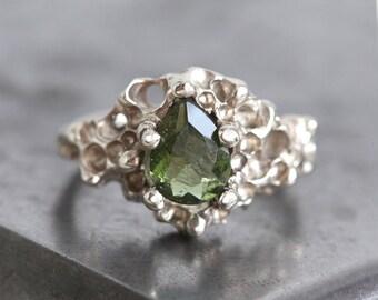 Crystal Ring, Meteorite Ring, Moldavite Ring, Energy ring, Green Ring, Unique Engagement Ring, Alternative Engagement Ring, OOAK Ring