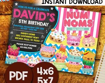 Num Noms Invitation, Num Noms Digital Invitation, Num Noms Birthday Supplies ,Num Noms Birthday Invitation, Num Noms Party, Editable PDF