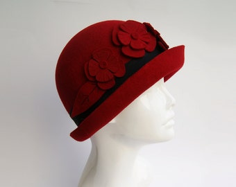 Red Cloche Hat , Womens Cloche Hat