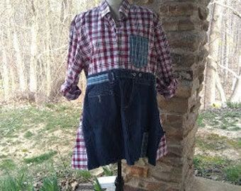 Upcycled Red Blue Plaid with Denim Tunic Size XL recycled repurposed upcycled womens shabby chic refashioned pullover prairie wear long sl