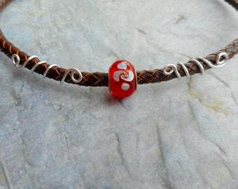 Brown braided leather choker necklace handmade jewelery orange red glass bead homemade ladies jewelry Ouroboros Python closure
