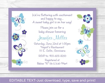 Butterfly Baby Shower Invitation / Butterfly Baby Shower Invite / Blue & Purple Butterfly / INSTANT DOWNLOAD Editable PDF A231