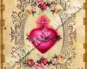 INSTANT DIGITAL DOWNLOAD - Gothic Victorian Sacred Heart - Printable Digital Download -  Valentine Card - Gift Tag