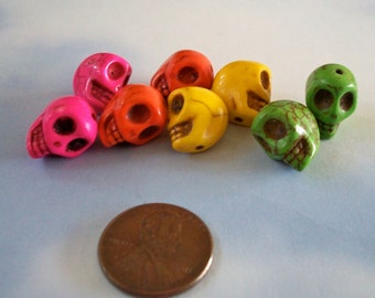 Skull 12mm by 10mm Beads Multi Colored Howlite Stone, Craft, Jewelry Supply