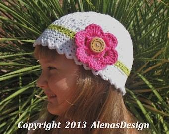 Crochet Pattern 081 - Crochet Hat Pattern - Hat Crochet Pattern for Crochet White Hat with with Detachable Flower Children Women Ladies Hat