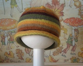 Knitted Baby Beanie Wool Mellow Yellow Vintage Colors Babymutsje