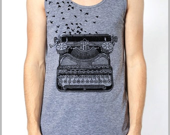Vintage Typewriter with Birds Freedom of Speech Men's Women's Tank Top Hipster American Apparel Back to School