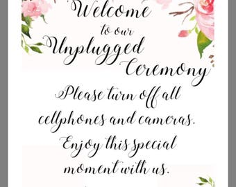 PRINTABLE 8x10 Unplugged Ceremony with WATERCOLOR FLOWERS