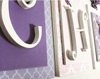 Pink and Purple Nursery Decor, Pink and Purple Girls Bedroom,Pink and Purple Nursery Letters. Wooden Letters for Girls Nursery,Girls Letters