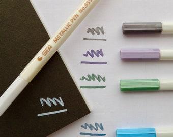Metallic pen STA Glitter Shimmer Metallic Felt Tip Pens in a rainbow of colours metallic pens platinum lilac emerald white