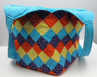 Extra large handmade patchwork tote bag mondo blue orange purple yellow