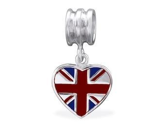 British Heart Dangle 925 Sterling Silver Bracelet Bead ( Fits Pandora and European Bracelets)