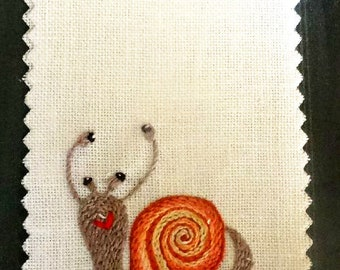 OOAK embroidery snail bookmark