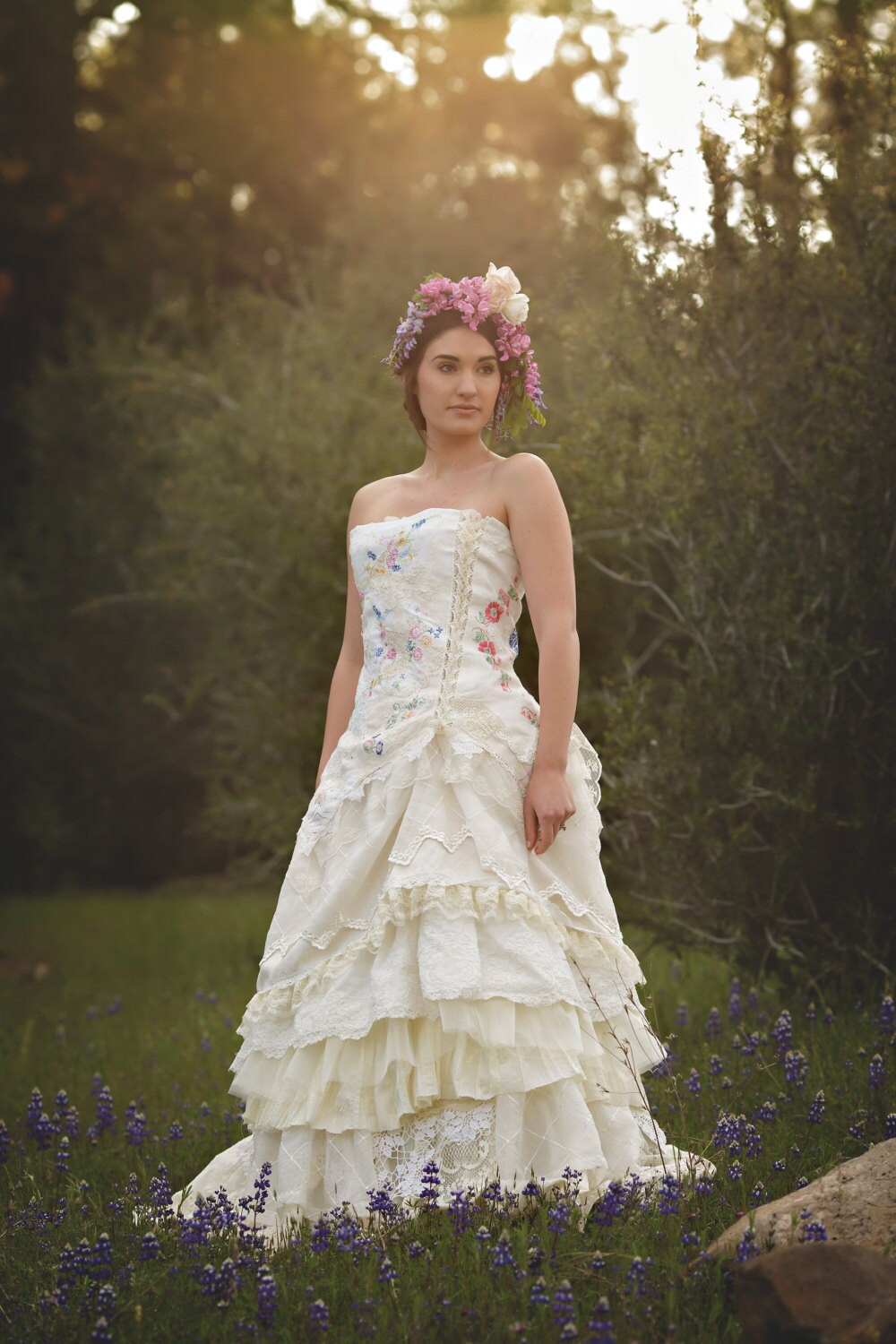 Embroidered Wildflower Wedding Gown Handmade Bohemian