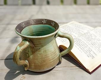 Jewish Gifts, Netilat Yadayim Cup, Israeli art, , Judaica art, Ceramic Washing Cup, Jewish Art, Jewish Netilat ydaym, Natla, Pottery gifts