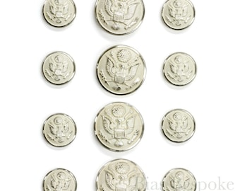US Military Silver Uniform Buttons in Three Sizes, Made in France