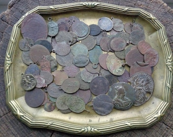 SALE! SET of 88 Ancient/Vintage/Antique Catholic/Orthodox Bronze/brass/copper Medallions Original patina Religious relics (FREE Shipping)