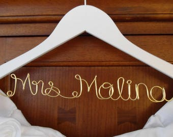 Wedding Hanger, Custom Bridal Hanger, Brides Hanger, Name, Wedding Hanger, Wedding Dress Hanger, Shower, Bride white hanger.