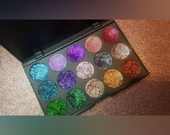 Customize 15 pressed glitter pan palette