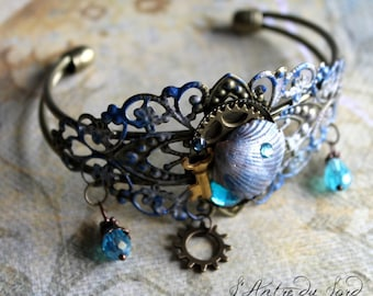 """Bangle steampunk pirate blue mermaid with shell """"Steam-shell"""""""