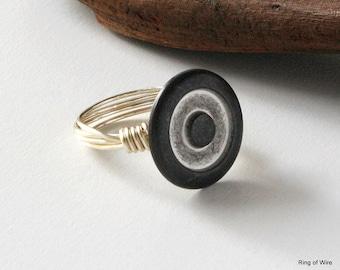 Metal Button Ring, Silver Bullseye Ring, Circle Button Ring, Button Jewelry, Wire Wrapped Ring, Gun Metal Grey Ring, Brushed Metal Ring
