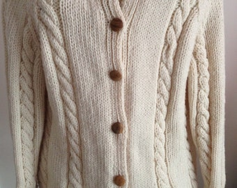 Hand Knitted Ivory Cabled Sweater Cardigan Ladies Irish Sweater Women's Cardigan Birthday Present Christmas Present Gift For Her CatDKnits