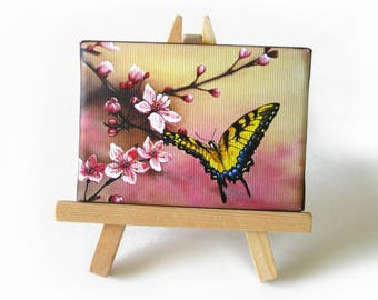 2.5x3.5 Cherry Blossom, Tiger Swallowtail Butterfly Desktop Mini Painting by J. Mandrick