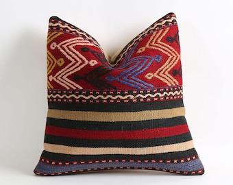 16x16 bohemian kilim pillow cover