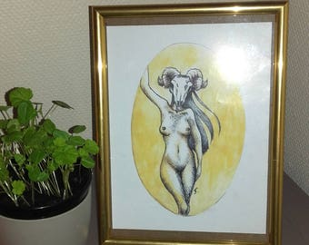 Naked woman in head of goat illustration / naked woman with a goat skull. 16 x 21 cm