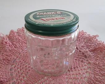 Vintage Krank's Shave Kreem Jar, Krank's Brushless Shave Kreem, Old Shaving Cream Jar, Metal Lid, Raised Lettering on Glass, Bathroom Decor