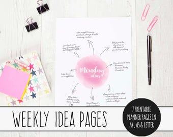 Weekly Ideas Log, Instant Download, Printable Planner Pages, A4 Weekly Planner Inserts, Letter Size Weekly Planner Inserts, Ideas Brainstorm