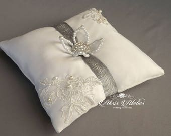 Wedding Ring Pillow, Ring Bearer Pillow, Wedding Pillow, Wedding Ring Pillow, Lace Ring Pillow, Rustic Wedding, Ring Cushion, wedding gift