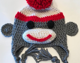 Sock monkey earflap hat, baby earflap hat, infant earflap hat, childrens earflap hat, adult sock monkey earflap hat