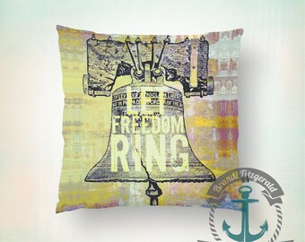 Throw Pillow | Philadelphia | Liberty Bell Let Freedom Ring   | Size and Price via Dropdown