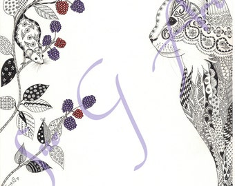 Cat and Mouse Zentangle Art Print