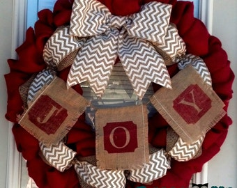 Burlap Wreath - Christmas Burlap Wreath - Red, and Natural Chevron Wreaths, Holiday Wreath, Christmas Burlap, Merry Christmas Wreath