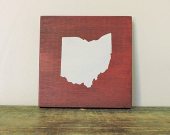 """Any Color, Any State, Custom State Wall Art, Ohio, Ohio State, Buckeyes, 5""""x 5"""""""