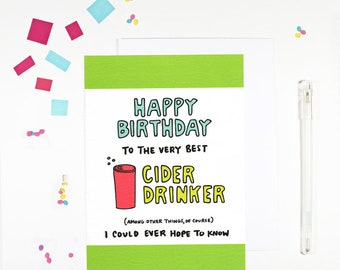 Happy Birthday Cider Drinker Birthday Card for cider drinker birthday card for cider lover hard cider