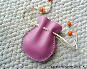 100% hand stitched handmade vintage style pinkish purple soft cowhide leather Coin / earbuds / Trinket / Jewelry pouch