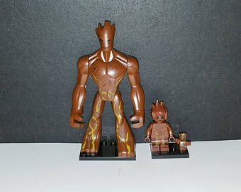 Groot Custom Set Of 3 Marvel Comics Minifigures Large Kid Baby Groot Guardians of the Galaxy (LEGO Compatible)